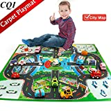 City Life Play Carpet Kids Road Learning Map - Game Rug with 16 x Cars & Dice for Palying and Learning - Kid's Baby Educational Road Traffic Area Carpets for Bedrooms Baby Room Safe Game