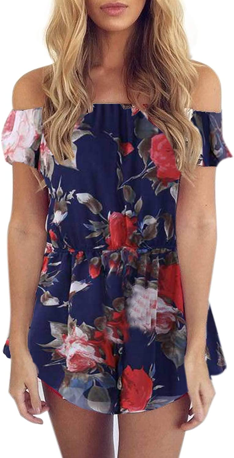 SUNNYME Womens Floral Rompers Off Shoulder Summer Strapless Playsuits Short Jumpsuits