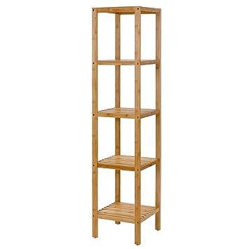 SONGMICS 100% Bamboo Bathroom Shelf 5 Tier Multifunctional Storage Rack  Shelving Unit UBCB55Y