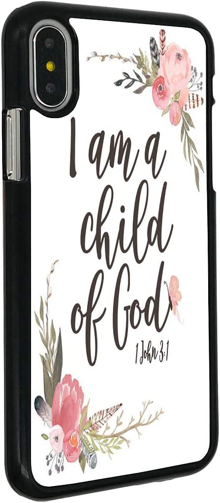 """iPhone XR Case,BOSLIVE Christian Bible Verse 1 John 3:1 I am a Child of God Pink Flower Background Design Hard Plastic Cover Anti-Scratch Protective Phone Case Compatible iPhone XR 6.1"""""""