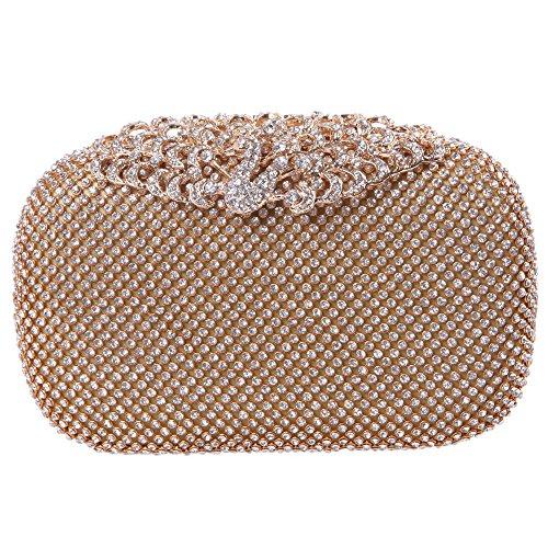 Fawziya Mini Peacock Evening Bag Rhinestones Clutch Purses For Women-Gold