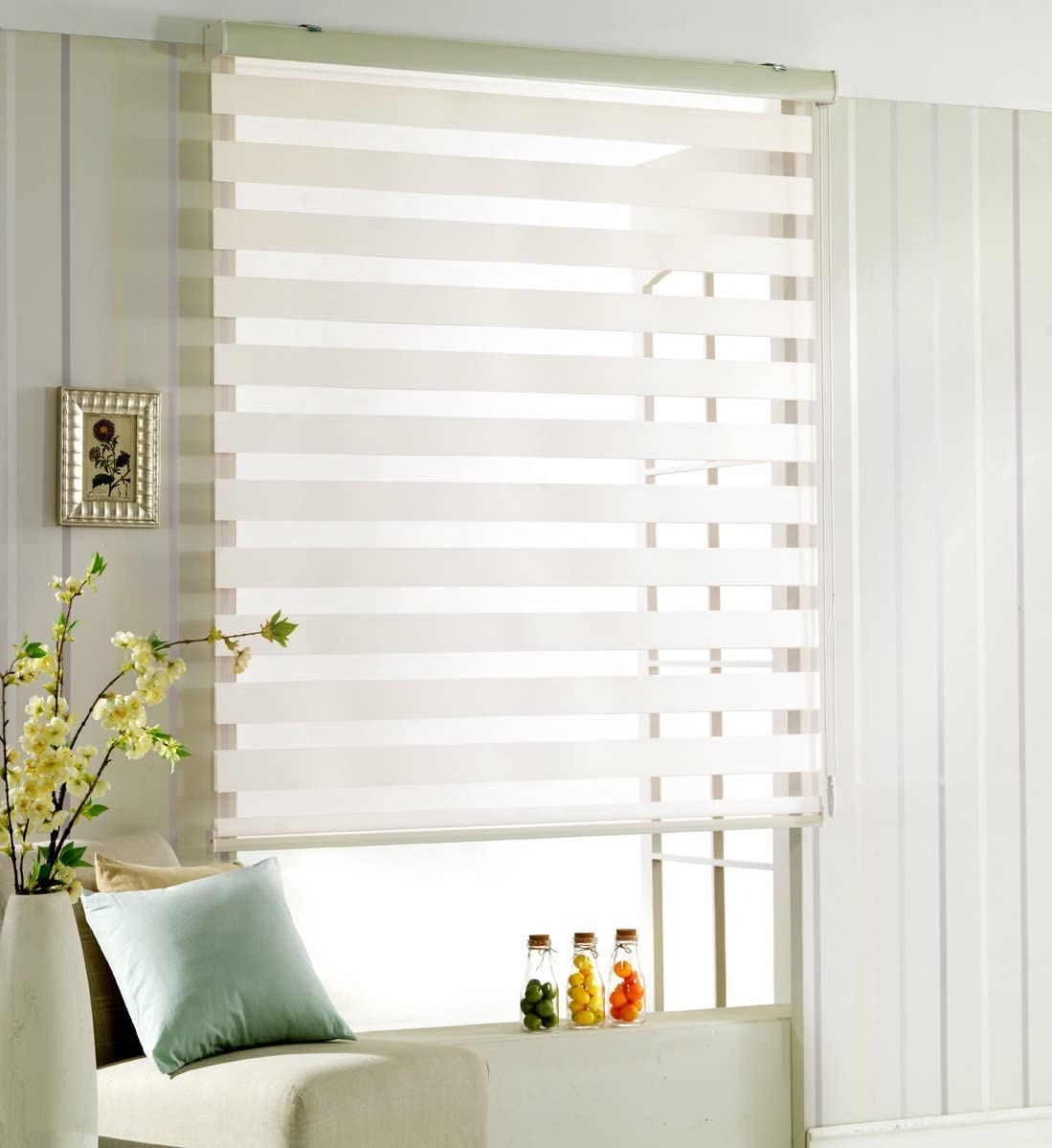 Custom Cut to Size, Winsharp Woodlook 64, White_ivory, W 79 x H 64 inch Zebra Roller Blinds, Dual Layer Shades, Sheer or Privacy Light Control, Day and Night Window Drapes, 20 to 110 inch wide