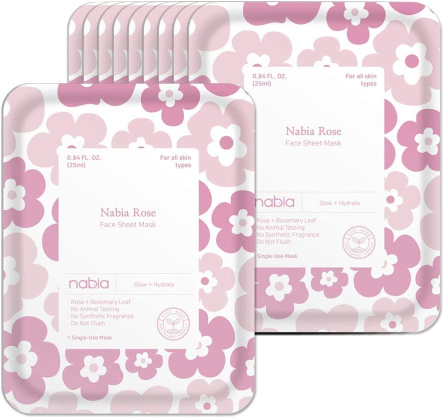 Nabia Rose Glow Face Sheet Mask with French and Damask Rose, Cica(10 Sheets)