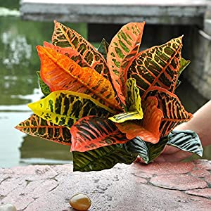 FYYDNZA Large Leaves Artificial Plants Plastic Green Grass For Garden Decoration 25