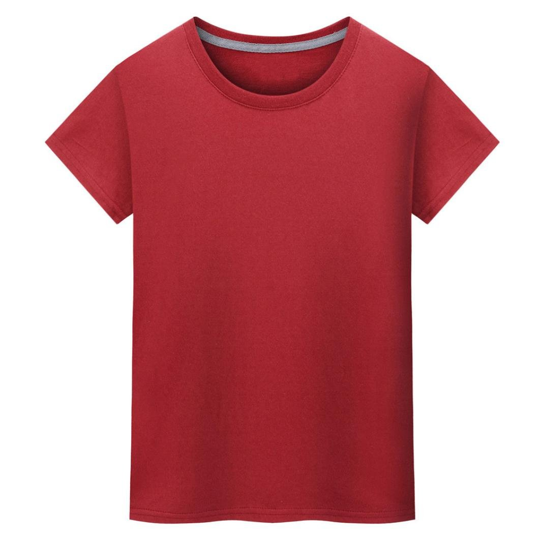 Pervobs T-Shirt Clearance! Women Fashion Casual Solid O-Neck T-Shirt Short Sleeves Tee Tops Blouse