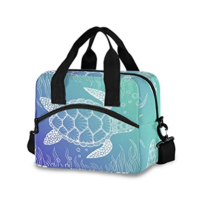 Sea Turtle Lunch Bag for Women Men Insulated Lunch Box Tote Bag with Detachable Shoulder Strap & Carry Handle, Reusable Cooler Bag for Work School Picnic: Kitchen & Dining