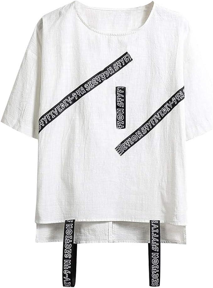 Camisetas Hombre Manga Corta La Camisa Basicas Algodon Blusa 2019 Verano Nuevo Tops Deportivas Gym Running Polo T-Shirt ZOELOVE Manga Corta Decorativa Cinta Tendencia de la Danza de Hip-Hop: Amazon.es: Ropa y