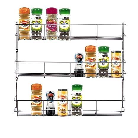 Kabalo Stainless Steel 3 Tier Spice Herb Rack For Kitchen Cupboard Door