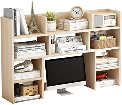 caja de almacenamiento Organizador de escritorio para biblioteca para bricolaje 2 niveles estanter/ías de CD Cikonielf libros