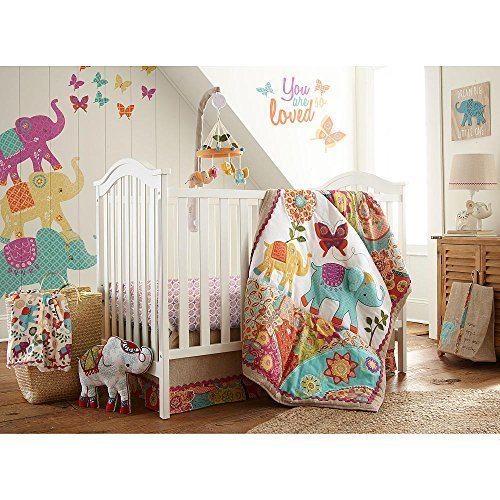 Levtex newborn baby Zahara Multicolor 5 Piece Crib Bedding Set, Quilt, 100% Cotton Crib Fitted Sheet, 3-tiered Dust Ruffle, Diaper Stacker and substantial Wall Decals