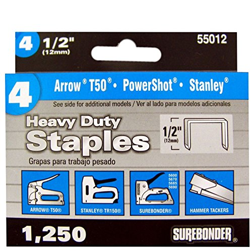 Surebonder 55012 Heavy Duty 1/2-Inch Length Staples, Arrow T50 Type, 1250 - Ht50p Hammer Arrow Stapler
