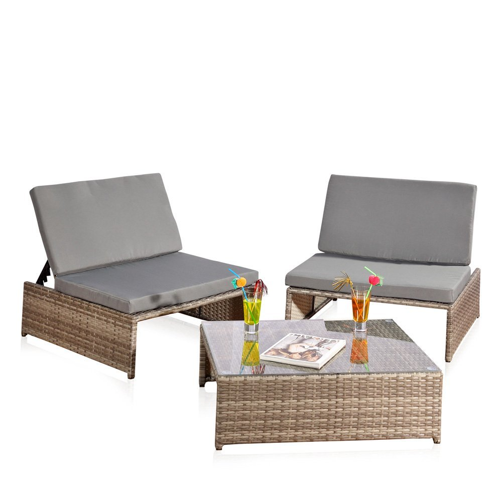 Sitzgarnitur + 2 Sessel und Tisch Gartenset Gartenmöbel Lounge Poly Rattan grau