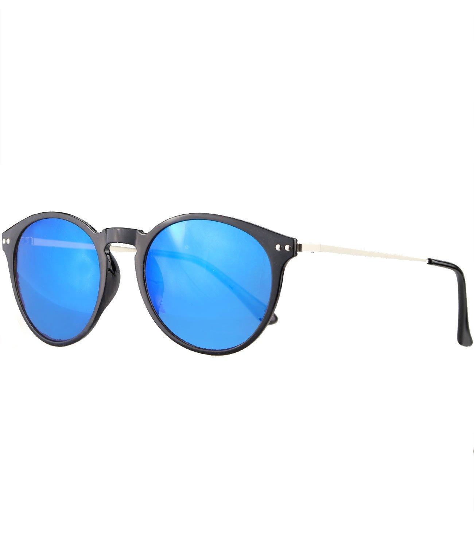 Caripe Retro Sonnenbrille Panto Damen Herren Hornbrille Metallbügel Vintage verspiegelt + getönt - 139 (big - schwarz - black getönt-polarisiert-14004) eyDmp