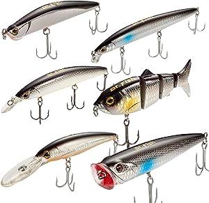 Dr.Fish Fishing Lure Assortment 5in Minnow Plugs Popper Jerkbait Mustad Hooks Saltwater Freshwater Surf Fishing Lures Striper Bass Salmon Black Silver