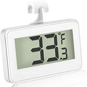 Refrigerator Thermometer Digital Freezer Thermometer Room Fridge Thermometer LCD Display Waterproof Freezer Thermometer with Hook for Temperature Reading (1)