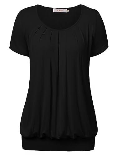 Wajat donne girocollo manica corta tunica camicetta plissettata anteriore Tie Dye casual t-shirt top...