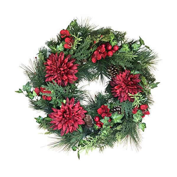The Wreath Depot Jasper Winter Wreath, 22 Inches, Stunning Full Winter Wreath Design, Gift Box Included