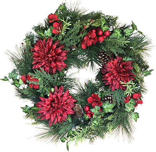 The Wreath Depot Jasper Winter Wreath, 22 Inches, Stunning Full Winter Wreath Design, Gift Box Included (Wreaths Christmas For White Sale)