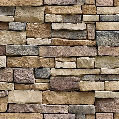 (Vacally 3D Wall Stickers Living Room Wall Background Decoration Decals 10 Meters Brick Simulated Stone Rustic Effect Self-Adhesive Wall Sticker Home Mural 17.7