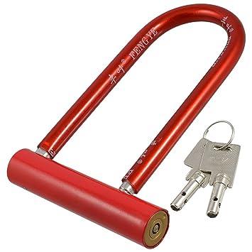 Bicicleta de la seguridad de la moto roja en forma de U aleación de la cerradura
