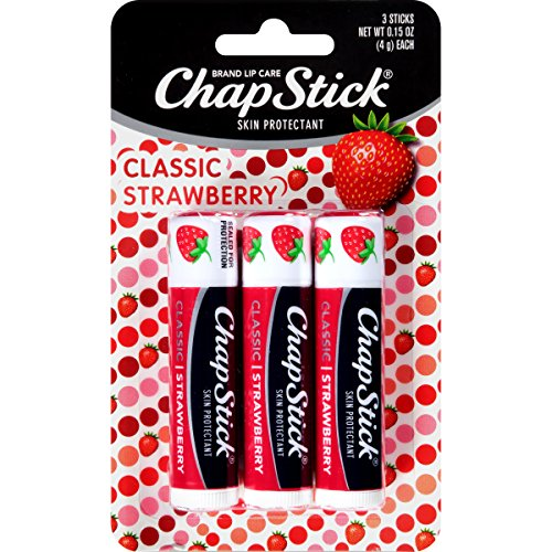 ChapStick Lip Care Classic Skin Protectant Flavored Lip Balm, 0.15 Ounce Each (Strawberry Flavor, 3 Sticks)