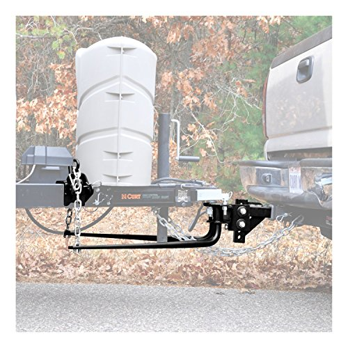 CURT 17007 Round Bar Weight Distribution Hitch Black Up to Up to 14,000 lbs, 2-Inch Shank