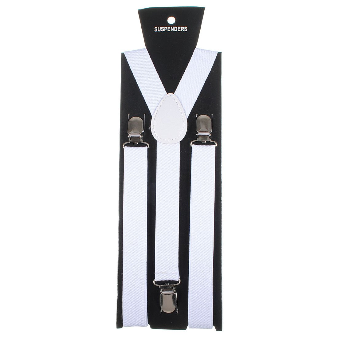Adjustable Unisex Adult Child Elastic Clip-on Brace Suspender Y back Neon Belt, White homeking Co. LTD