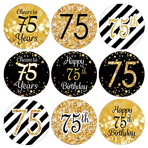 DISTINCTIVS Black and Gold 75th Birthday Party Favor Labels -180 Stickers -