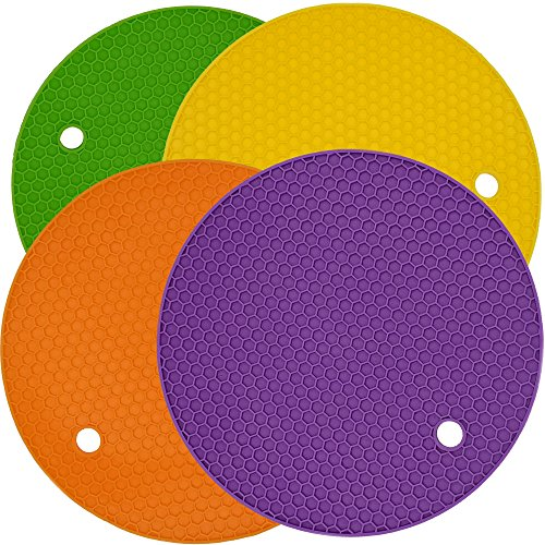 Multipurpose Silicone Pot Holders, Trivet, Table Insulation Mat, Heat Resistant Coasters, Non Slip Jar Openers, Spoon Rests - Set of 4 (4-Round)