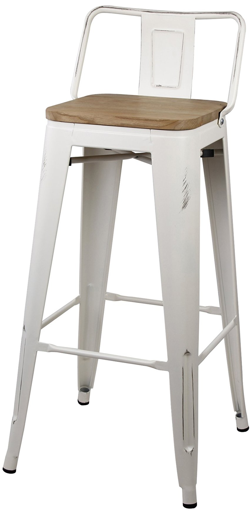 GIA Low Back Metal Barstool with Wooden Seat 30'' Bar Height(1 PACK) - Antique White - Light weight easy assemble and stackable