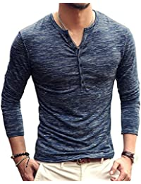Men's Casual Slim Fit V Neck Long Sleeve Buttons Henley T Shirt Tshirt