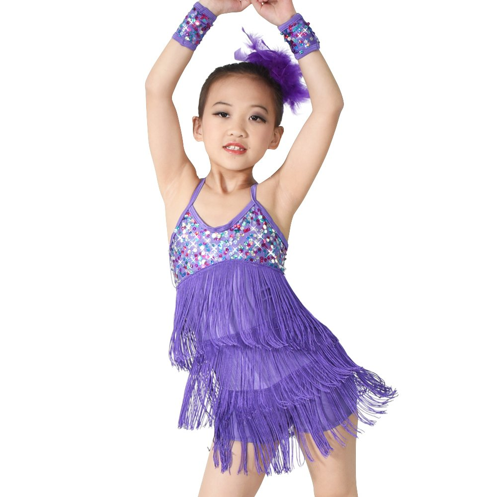 MiDee Dance Costume Sequins Fringed Tassels Latin Dress Camisole 3 Colors (LC, Purple) by MiDee