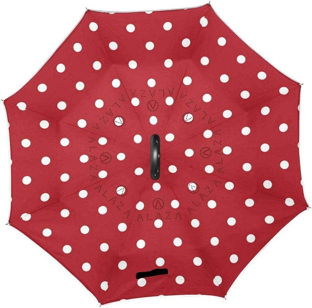Orediy Parapluie invers/é /à Pois Blancs Double Couche pour Voiture Anti-UV Coupe-Vent Pluie Soleil Voyage