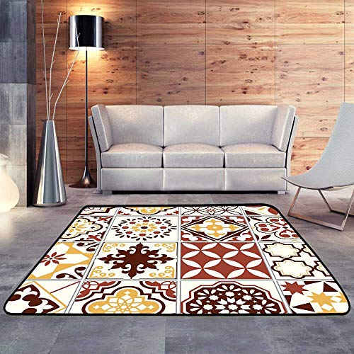 Rugs for Kitchen Floor,Portuguese Art Ornament in Brown and Yellow.W 71
