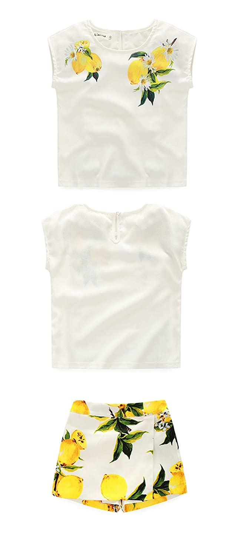 MAOMAHREWW 2Pcs Girls Summer Outfit Set Lemon Print Short Sleeve Shirt and Skort Set