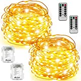 String Lights 2 Set 100 LED Christmas Fairy Lights with Remote Control(Timer),Warmtaste 33ft String Waterproof Copper Wire, Decor Rope Lights for Bedroom,Patio,Garden,Parties,Wedding(Warm White )