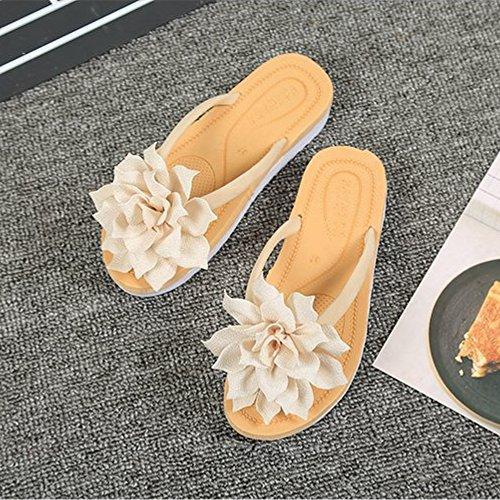 Womens Flops Sandal Anti Btrada Fashion Flip Beige Flower Beach Thong Slip qdww6IAx