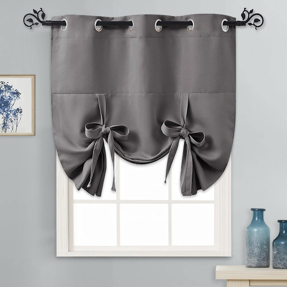 PONY DANCE Tie Up Shades - Small Kitchen Curtains and Valance Set Blackout Adjustable Silver Grommet Top Window Valance for Thermal Insulated Home Decoration, 1 Panel, W46 x L63, Grey