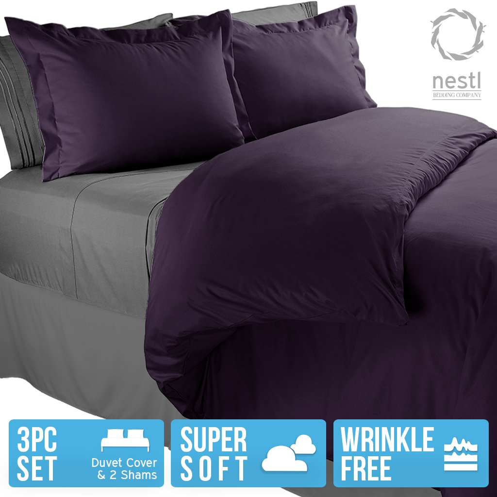3-Piece Set By Nestl Bedding Eggplant, Queen Microfiber Linen