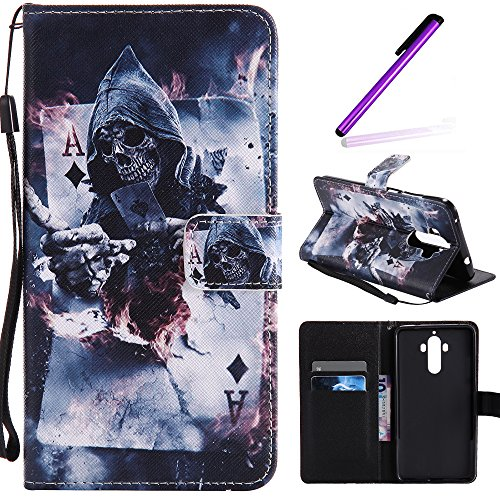 Mate 9 Case, LEECOCO Fancy Paint Design Wallet Case with Card Slots Shockproof Colorful Floral PU Leather Flip Stand Magnetic Case Cover for Huawei Mate 9 with 1 Stylus Pen,Poker Devil