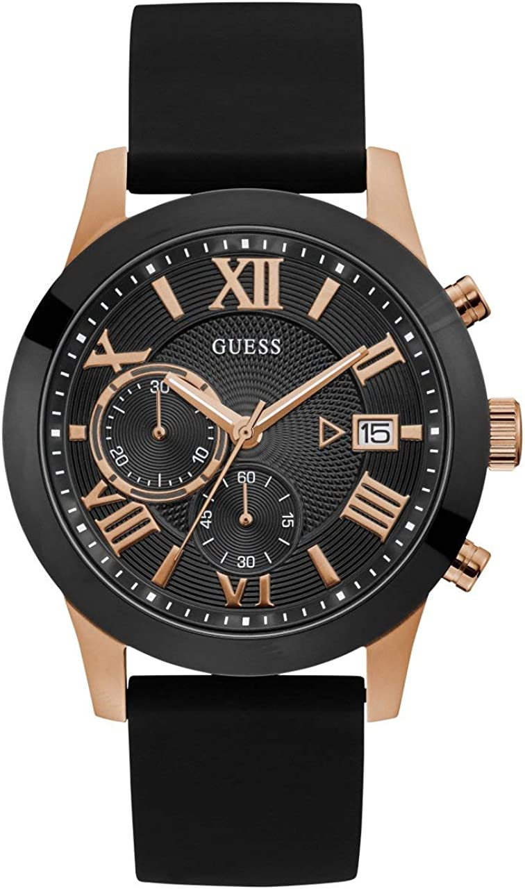 GUESS Comfortable Black Rose Gold-Tone Stain Resistant Silicone Chronograph Watch with Date. Color Black Rose Gold-Tone Model U1055G3