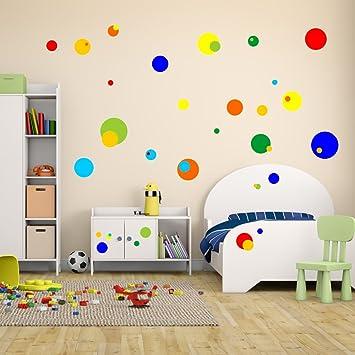 Malango Wandsticker Bunte Punkte Kreise Wanddekoration Sticker