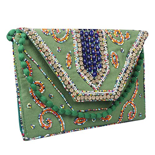 Fashion purse Women's Emerald Ethnic Brazeal Studio Clutch Evening Envelope handbag Embroidered Collection UqnOR