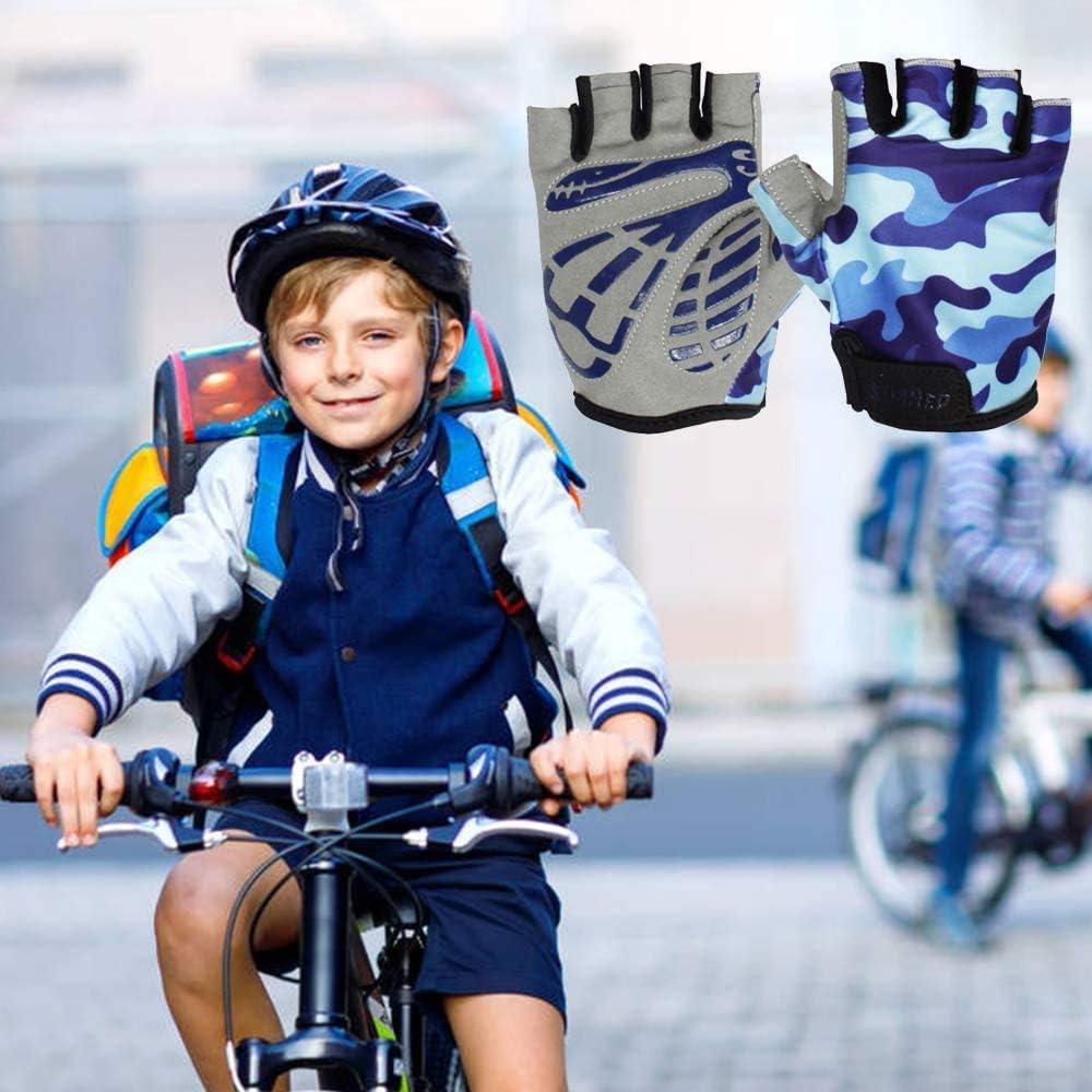 Alpinismo(Rosa//Azul//Amarillo) EU World Guantes de Ciclismo Medio Dedo para Ni/ños y Ni/ñas Guantes de Bicicleta Cortos Deportivos para Patinaje Bicicleta de Monta/ña Carretera