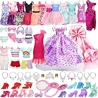 33 Pack Handmade Doll Clothes Set Including 2 Princess Dresses 2 Fashion Dresses 2 Tops and Pants 2 Bikini Swimsuits 10 Shoes and 15 Accessories for Barbie Doll and Other11.5 Inch Doll