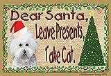 Bichon Frise Dear Santa Leave Presents Take Cat Christmas Fridge Refrigerator Magnet 3.5