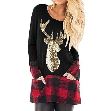 Camiseta de Mujer Invierno Rebajas Navidad, EUZeo, Otoño Elk Sudaderas Cuadros Pullover Vintage Deporte Tops Mujer Blusas Jersey Casual Básica Moda Camisas ...