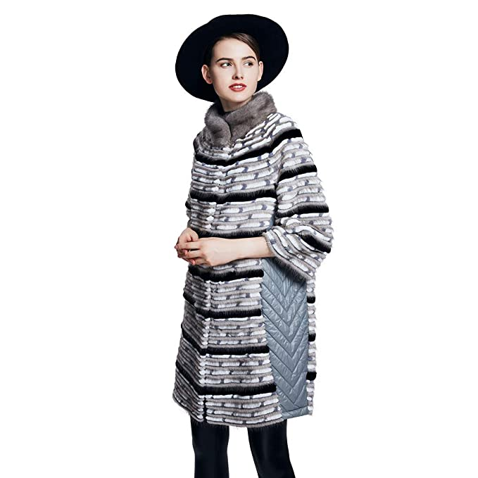 URSFUR Abrigo de invierno de visón real de piel de conejo Rex de las mujeres, moda y caliente: Amazon.es: Ropa y accesorios