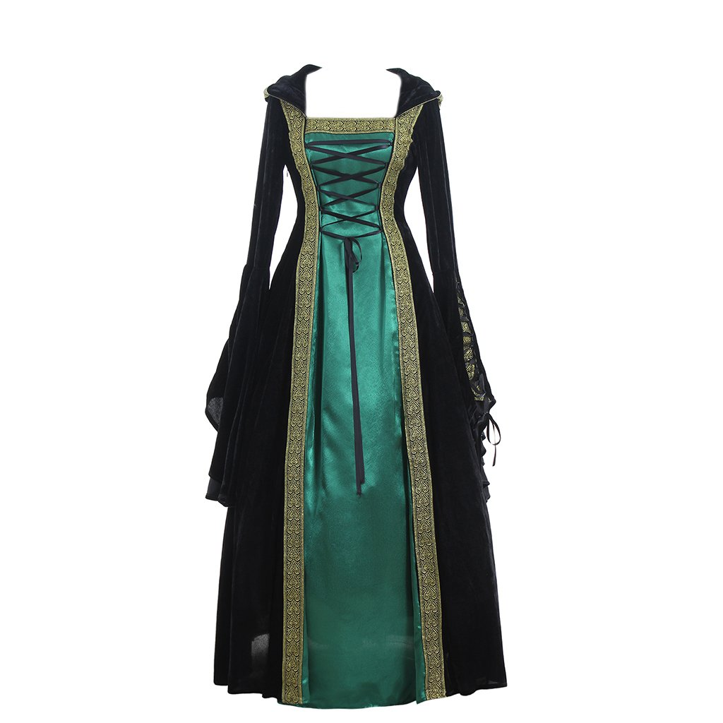 CosplayDiy Women's Medieval Renaissance Retro Gown Cosplay Costume Dress XXXL Green