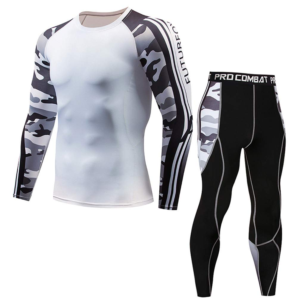 LEXUPA t-shirts for Men Men's Casual Fitness T-shirt Fast Drying Elastic Tops Pants Sports Tight Suit(White,Medium) by LEXUPA